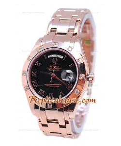 Rolex Day Date Diamond Bezel Or Rose Montre