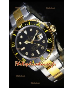 Montre suisse Rolex Submariner avec cadran noir et indicateurs des heures en diamant