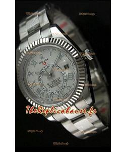 Montre en acier inoxydable Rolex Sky-Dweller avec cadran blanc