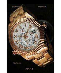 Montre en or rose 18K Rolex Sky-Dweller avec chiffres romains sur cadran blanc