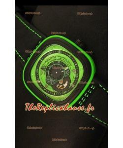 SevenFriday P-32 noire et verte avec mouvement Miyota 82S7 original - Qualité miroir 1:1