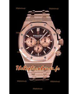 Audemars Piguet Royal Oak montre chronographe avec boîtier en or rose cadran marron