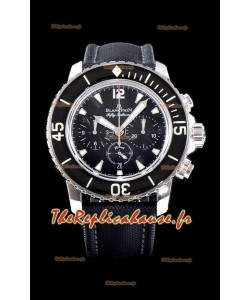 Blancpain Blancpain Fifty Fathoms montre réplique chronographe flyback noir avec mirroir 1:1