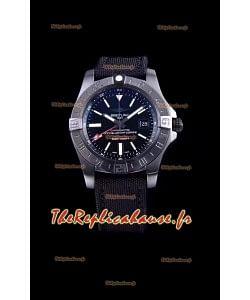 Breitling Avenger II Blacksteel GMT montre réplique suisse 1:1 montre réplique suisse ultime