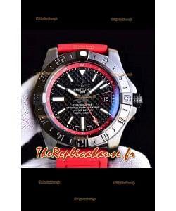 Breitling GMT montre réplique chronomètre suisse cadran en carbone avec bracelet en caoutchouc à miroir 1:1