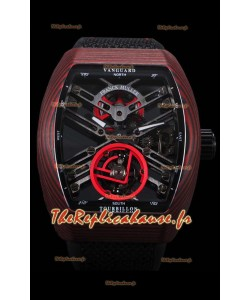 Franck Muller Vanguard Skeleton Tourbillon montre réplique suisse carbone rouge