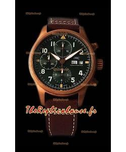 Réplique pilote du chronographe IWC Spitfire à miroir 1:1 avec boîtier en bronze