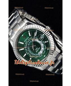 Rolex SkyDweller montre suisse avec boîtier en acier - cadran vert édition DIW