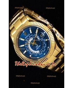 Rolex SkyDweller montre suisse avec boîtier en or jaune de 18 carats - cadran bleu édition DIW