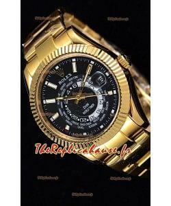 Rolex SkyDweller montre suisse avec boîtier en or jaune de 18 carats - cadran noir édition DIW