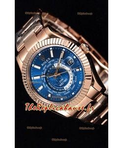 Rolex SkyDweller montre suisse avec boîtier en or rose de 18 carats - cadran bleu profond édition DIW