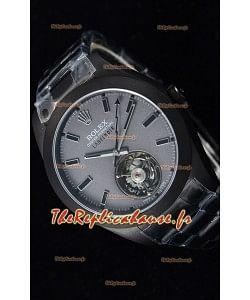 Rolex Milgauss LABELNOIR Tourbillon montre réplique suisse avec boîtier plaqué de PVD