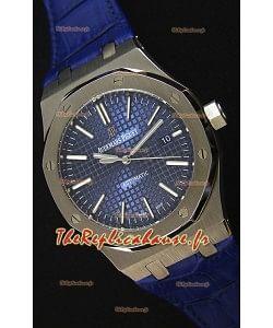 Audemars Piguet Royal Oak 41MM cadran bleu bracelet en cuir  - 1:1 Miroir Édition Ultime