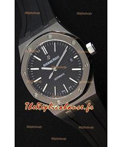 Audemars Piguet Royal Oak 41MM cadran noir bracelet en caoutchouc - 1:1 Miroir Édition Ultime