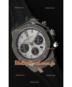 Montre Audemars Piguet Royal Oak Suisse à Chronographe avec Cadran Blanc et un Bracelet en caoutchouc Réplique