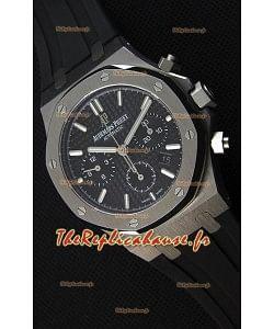 Montre Audemars Piguet Royal Oak Suisse à Chronographe avec Cadran Noir et un Bracelet en caoutchouc Réplique