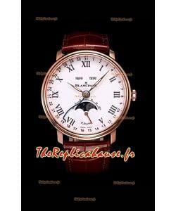 """Montre Blancpain """"Villeret Quantième Complet"""" 904L en acier et or rose à cadran blanc"""