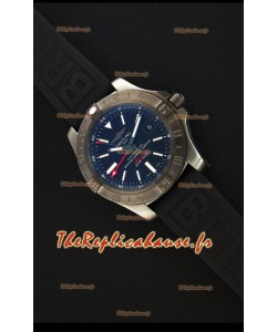 Montre Breitling AvengerII BlackSteel GMT Suisse bracelet en caoutchouc Réplique à l'identique 1:1
