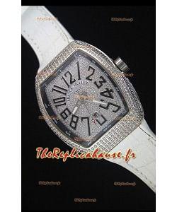 Franck Muller Vanguard Montre Réplique Suisse avec Cadran incrusté de diamants