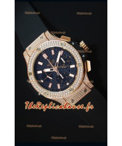 Montre Suisse Hublot Big Bang en Or Rose Emaillée de Diamants avec un cadran en Carbone