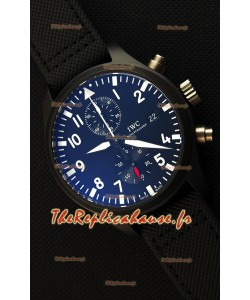 IWC Pilot's Top Gun chronographe IW389001 1:1 Boîtier en céramique Montre Réplique Miroir Ultime