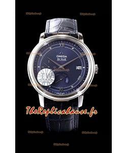 Omega De Ville Prestige Réserve de marche 904L Acier 1:1 Montre suisse à miroir Cadran bleu