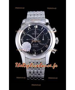 Chronographe Omega De Ville 1:1 Réplique de montre à miroir en cadran noir 42MM