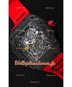 Montre Richard MilleRM35-2 Rafael Nadal Etui en Carbone Forgé avec Bracelet en caoutchouc rouge