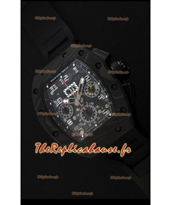 Montre Richard MilleRM011-FM Felipe Massa Boîtier monobloc en carbone noir forgé avec Bracelet Noir
