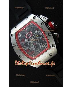 Montre Richard MilleRM011-FM Felipe Massa Étui en Titane d'une seule pièce avec Bracelet Noir