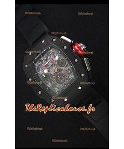 Richard Mille RM011-03 Montre avec boîtier en Un morceau de Carbone forgé Noir et Bracelet Noir