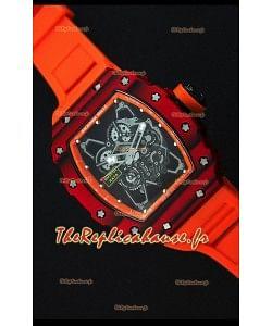 Richard Mille RM35-01 Montre avec boîtier en Un morceau de Carbone forgé rouge et Bracelet Orange