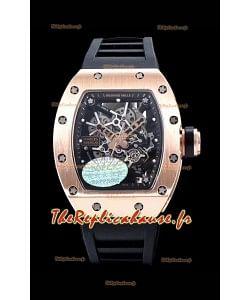 Richard Mille RM035 AMERICAS Montre réplique en or rose 18 carats avec bracelet noir