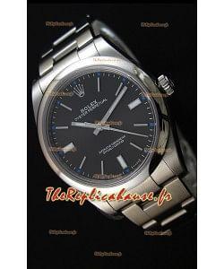 Montre Rolex Oyster Perpetual Mouvement SuisseCal.3132 à Cadran Noir et Bracelet Oyster — Montre en acier Ultime904L