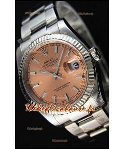Montre Rolex Datejust 36mmCal.3135 Mouvement Suisse à Cadran Champagne et Bracelet Oyster Répliquée — Montre en acier ultime 904L