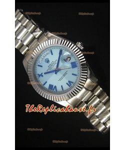 Reproduction de Montre avec Cadran Bleu Clair Rolex Day Date 40MM – Mouvement Suisse 3255