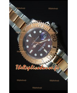 Cadran Gris Or Rose Deux Tons Rolex Yachtmaster 1:1 Reproduction de Montre Suisse