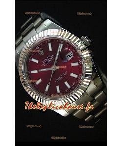 Rolex Datejust II 41MM avec Mouvement Cal.3136  Montre Réplique Suisse en Cadran Rouge foncé et Marqueurs de bâton