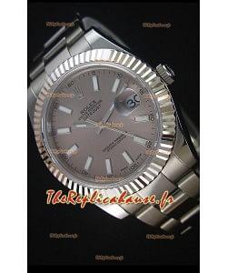 Rolex Datejust II 41MM avec Mouvement Cal.3136  Montre Réplique Suisse en Cadran Gris avec Marqueurs de bâton