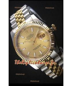 Rolex Datejust Montre Réplique avec Cadran en Or 36MM avec Mouvement Suisse 3135