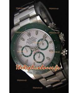 Rolex Cosmograph Daytona Cadran Blanc Vert Céramique Mouvement Original Cal.4130- Montre Ultime Acier 904L