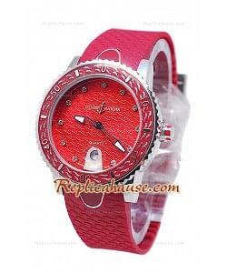 Ulysse Narden Lady Diver Montre De Replique en Rouges Cadran