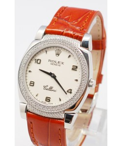 Rolex Cellini Cestello Femmes Swiss Watch White Face Leather Strap Hour, Bezel and Lugs