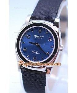 Rolex Cellini Cestello Femmes Swiss Montre Bracelet en Nylon Face en Argent Bleu