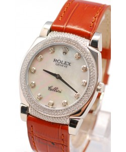 Rolex Cellini Cestello Femmes Swiss Watch White Pearl Face Leather Strap Diamonds Hour, Bezel and Lugs