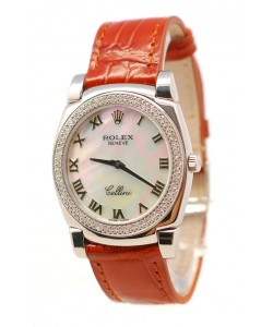 Rolex Cellini Cestello Femmes Swiss Montre Lunette de Diamants Bracelet de Cuir Face Romaine Nacrée Blanche