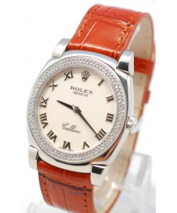 Rolex Cellini Cestello Femmes Swiss Montre Lunette de Diamants Bracelet de Cuir Face Romaine Blanche
